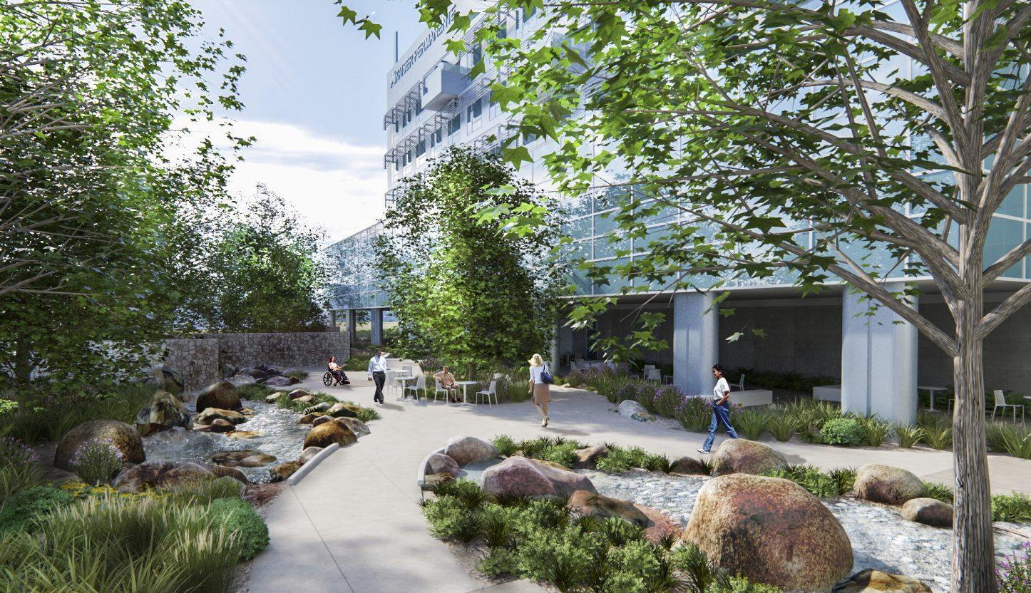 Garden Rendering View2 HMC 1446x832 - Kaiser Permanente Downey Medical Center